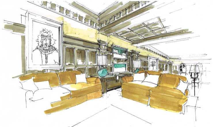 Salon hôtel Airelles Val d'Isère